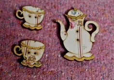 Pretty buttons mad tea party set of wooden and by BrocanteArt, £5.50