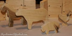 Wooden Waldorf Farm with Horse and Cow by MamaMadeWNY on Etsy, $30.00