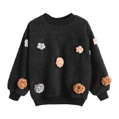 Floral Appliques Shearling Sweatshirt (46 BAM) ❤ liked on Polyvore featuring tops, hoodies, sweatshirts, zaful, floral sweatshirt, floral print tops, applique sweatshirts, applique top and flower print top