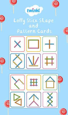 Lolly Stick Shape and Pattern Cards Eyfs Activities, Motor Skills Activities, Toddler Learning Activities, Dementia Activities, Fine Motor Skills, Physical Activities, Physical Education, Visual Perception Activities, Card Patterns