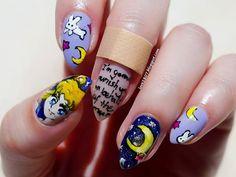 Sailor Moon inspired nail art by http://love2807.blogspot.de/2015/06/sailor-moon-blogparade-tsukino-usagi.html