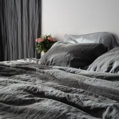 LINEN DUVET COVER. White French linen duvet cover with by mooshop