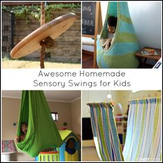 Homemade sensory swings for kids - great ideas for kids with autism or sensory processing disorder from And Next Comes L
