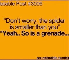 Yeah people say that. Don't worry, the spider is smaller then you. haha Gotta remember this!!!! lol by dona