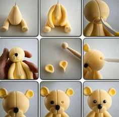 How to make a fondant teddy bearTutorial - how to make cute Teddy bear fondant cake topper for cakes, cupcakes, birthday party, christening, baptismTutorial de osito con pastas moldeables Delicious Cake for youFimo y fondantThis is made from sugar but I w Polymer Clay Animals, Cute Polymer Clay, Polymer Clay Crafts, Polymer Clay Disney, Fondant Cake Toppers, Fondant Figures, Fondant Cupcakes, Cupcake Toppers, Fondant Bow