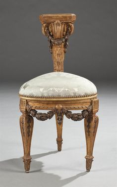 Straddled by a gentleman watching a card game or other entertainment, this gilt-wood voyeuse in the Louis XVI style is a near-replica of a 1768 Flamande chair by architect Jean-Charles Delafosse. Custom Made Furniture, French Furniture, Classic Furniture, Unique Furniture, Rustic Furniture, Vintage Furniture, Home Furniture, Furniture Design, Danish Furniture