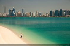 Beautiful...seems so peaceful. An actual picture of the beach in Abu Dhabi