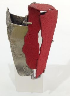 Han-Chien Chuang's red enamel and silver 'Brick' jewellery - brooch