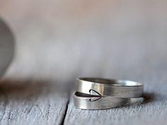 Fedi in argento con cuore, divisi ma sempre uniti, fedi nuziali, anniversario, fidanzamento o amicizia