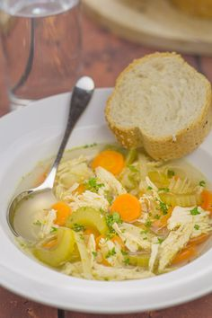 Simple chicken and vegetable soup. Simple because it's made with basic vegetables, a chicken breast and stock cubes. Tasty and satisfying.