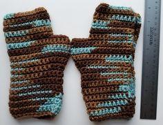 Handmade Brown and Teal Fingerless Gloves