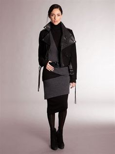 Donna Karan - Fall 2012 Casual Luxe Felt and Leather Jacket.  OMGOSH I really have to have this jacket!