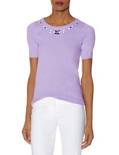 Embellished Sweater Tee from THELIMITED.com  #TheLimited #Tops #Pastel #SpringStyle