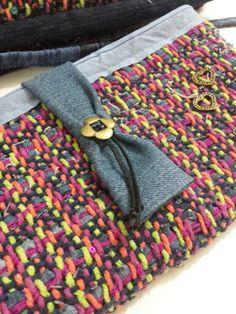 Bolsa transversal em algodão  e tiras de denin