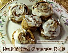 Healthy Iced Cinnamon Rolls (E) - The bread is Gwen's No-Knead bread (needs 3 days to be ready) and the yogurt cheese that has to be made ahead of time can be replaced with Laughing Cow Cheese. Trim Healthy Recipes, Trim Healthy Momma, Thm Recipes, Healthy Desserts, Whole Food Recipes, Healthy Options, Healthy Foods, Bread Recipes, Breakfast Cake