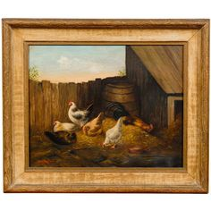 """19th Century Oil on Canvas Barnyard Painting by American Artist """"JV Maginn"""" 