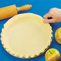 Rope Edge: Used for a single- or double-crust pie. Trim pastry 1/2 in. beyond edge of pie plate (1 in. for a double-crust pie). Turn the overhanging pastry under to form the rolled edge. Make a fist with one hand and press you thumb at an angle into the pastry. Pinch some of the pastry between your thumb and index finger. Repeat at about 1/2-in. intervals around the crust. For a looser-looking rope, position your thumb at a wider angle and repeat at 1-in. intervals. --Taste of Home Test Kitc...