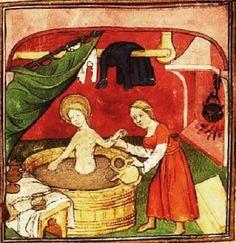 The Hague, KB, 76 F 21 fol. 15r Mary in bath Fol. 15r: miniature