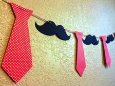 Mustache and Necktie Garland Banner father's day celebration Little Man Party, Little Man Birthday, Boy Birthday, Moustache Party, Mustache Birthday, Theme Bapteme, Dad Day, Fathers Day Crafts, 1st Birthday Parties