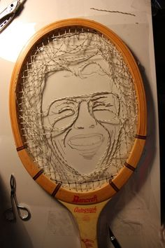 Billie Jean King in the form of tennis strings. I commissioned the talented artist Erika Simmons for a portrait of the tennis legend. She literally made the portrait out of the strings. Click on the link for the process shots.