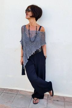 Grey knit wrap linen poncho hand knit wrap dress cover up minimalist gray vegan clothing Mode Outfits, Chic Outfits, Fashion Outfits, Dress Fashion, Fashion Tips, Poncho Dress, Vegan Clothing, Wrap Clothing, Dinner Outfits