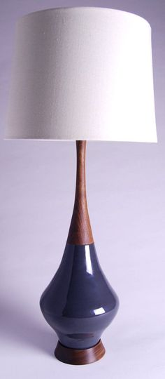 Mid Century Modern Inspired Lamp with Walnut Base and Neck