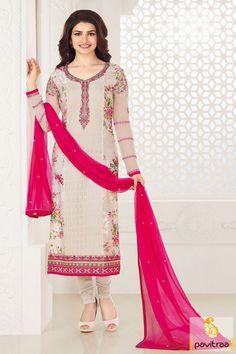 Cream Color Bollywood Actress Salwar Suit Online #salwarsuit, #straightdress more: http://www.pavitraa.in/catalogs/prachi-desai-salwar-kameez-for-party/?utm_source=rn&utm_medium=pinterestpost&utm_campaign=1jul
