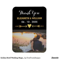Golden Motif Wedding Magnet Favor Photo Thank You Thank you! Say it to your friends and family with this rustic and glitzy photo magnet. You can customize everything about this magnet favor from the photo to the font phrasing, color, and placement. Make it exactly the wedding gift that you need to have to say thank you to your guests. This fun design features a golden heart and arrows motif, gold and white text, and a sharp black background. All of it combines to make the perfect style for…