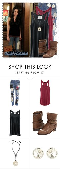 """""""Aria 1.5b"""" by silver-screen-style ❤ liked on Polyvore featuring Junya Watanabe, H&M, Frye, Yves Saint Laurent, lucy hale, aria montgomery, pll, pretty little liars and reality bites me"""