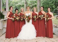 burnt orange dresses @weddingchicks                                                                                                                                                                                 More