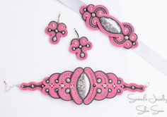 Unique handmade soutache set - Pink and Grey bracelet , earrings and headband