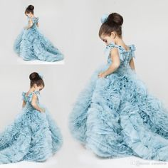 Girls Bridesmaid Dress Pretty Flower Girls Dresses Ruched Tiered Ice Blue Puffy Girl Dresses