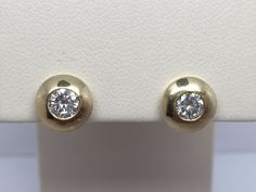 14K YELLOW GOLD 1/2CT BEZEL SET DIAMOND STUD EARRINGS SI3-I1 H #Stud