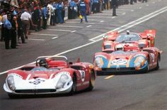 1970 .. Le Mans , entered by Autodelta S.P.A. , Alfa Romeo Tipo 33/3, driven by De Adamich / Courage , DNF>engine . No.37 , driven by Hezermans / Gregory suffered the same fate after it's engine ingested a stone .