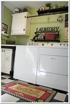 laundry sign and layout. I love this look, maybe I can find the time next winter. Have always wanted to paint the floor in my laundry room. and I love this wall color!