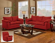 Red Couch and Loveseat - living room