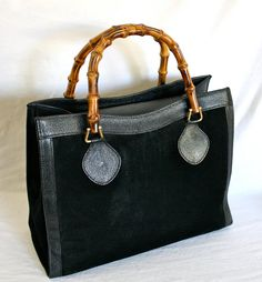 Vintage GUCCI Tote Bamboo Black Suede Leather Large by StatedStyle