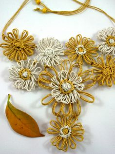 Yellow and natural twine necklace made on a vintage flower loom