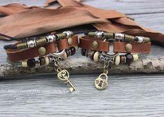 Couples bracelet key lock Lovers Leather bracelet by Carlydiy, $15.99