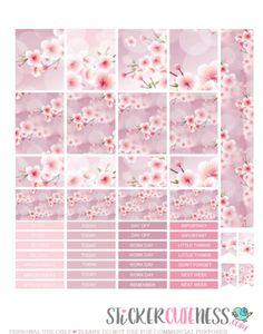 Free Printable CherryBlossom Planner Stickers from StickerCuteness