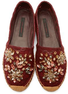 Dolce & Gabbana Burgundy Lace Bejeweled Espadrilles