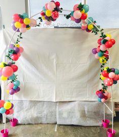 Garden balloons arch. High tea party, garden party or fairy party