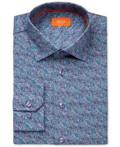 Tallia Men's Fitted Purple Paisley-Print Dress Shirt - Purple 1