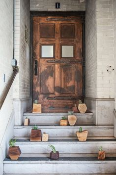 Modern wood succulent planters from Boyce Studio.