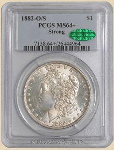 1882-O/S Morgan Dollar MS64+ PCGS, obverse ~ CAC