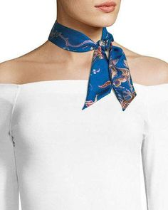 Stylish Blue Carriage Silky Twilly Mini Scarf Neck Bow Ribbon Handbag Purse Wrap