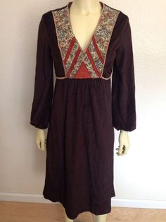 Ryan Keith Brown Velvet Dress 11/12 Vintage Hippie ...make with quilted hippie bodice.. and billowy sleeves from mid-upper-arm down...