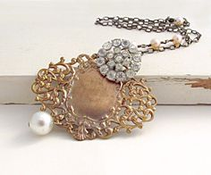 Art Nouveau Necklace Rhinestone Necklace by laurenblythedesigns #vintage #art deco #bride #pearls