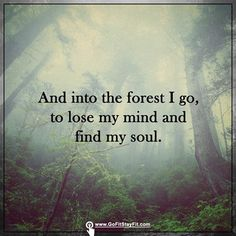 Into the forest i go, to lose my mind and find my soul.