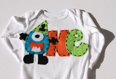 Monster birthday shirt, 1, 2, onesie, boy, girl photo prop. $22.99, via Etsy.